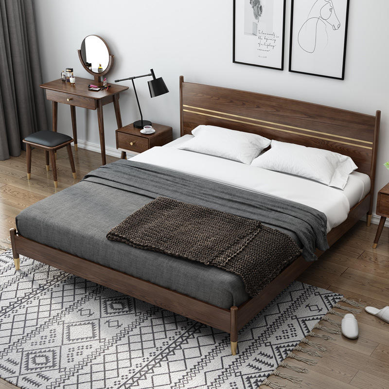 net red special offer latest Customizable design modern solid wood bed furniture bed headboard