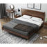 Custom 2020 wholesale modern bedroom furniture bedroom set king size white ashsoild Wood wax oil bed with Copper foot