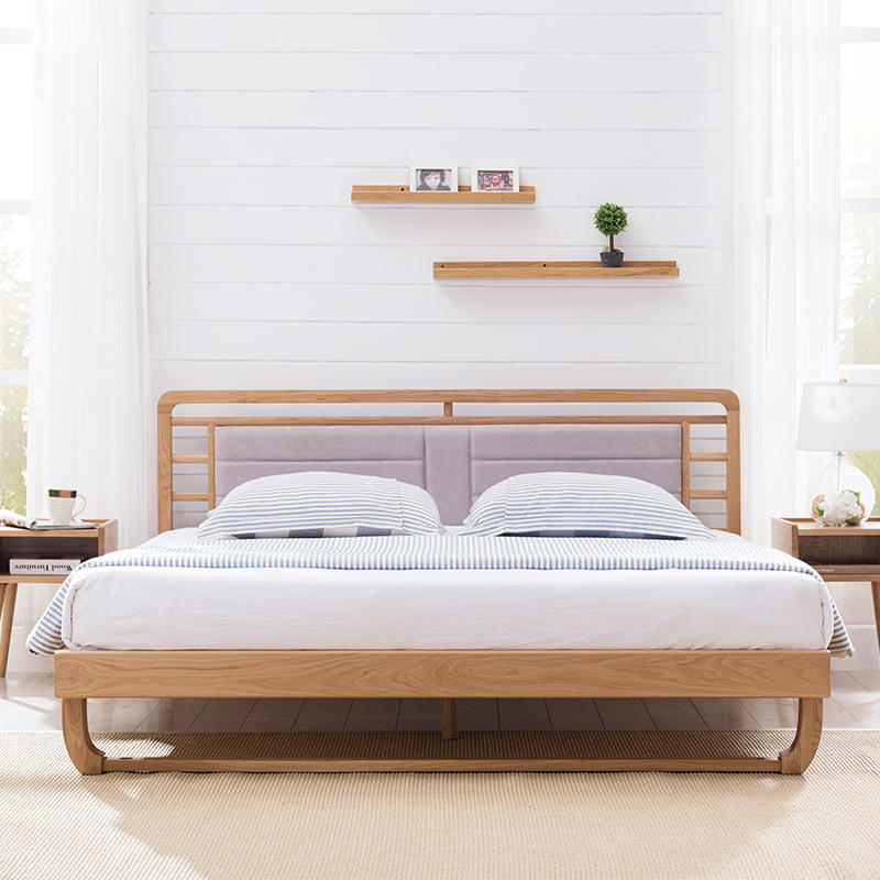 Manufacturers selling Nordic Simple Modern Simple solid wood bed white oak bedroom furniture modern 1.5M 1.8 M bed