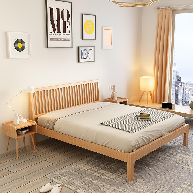 2020 Hot Sale Nordic Modern Style Factory DirectSimplicity Design soild wood Furniture Bed King Size Wood Beds for the bedroom
