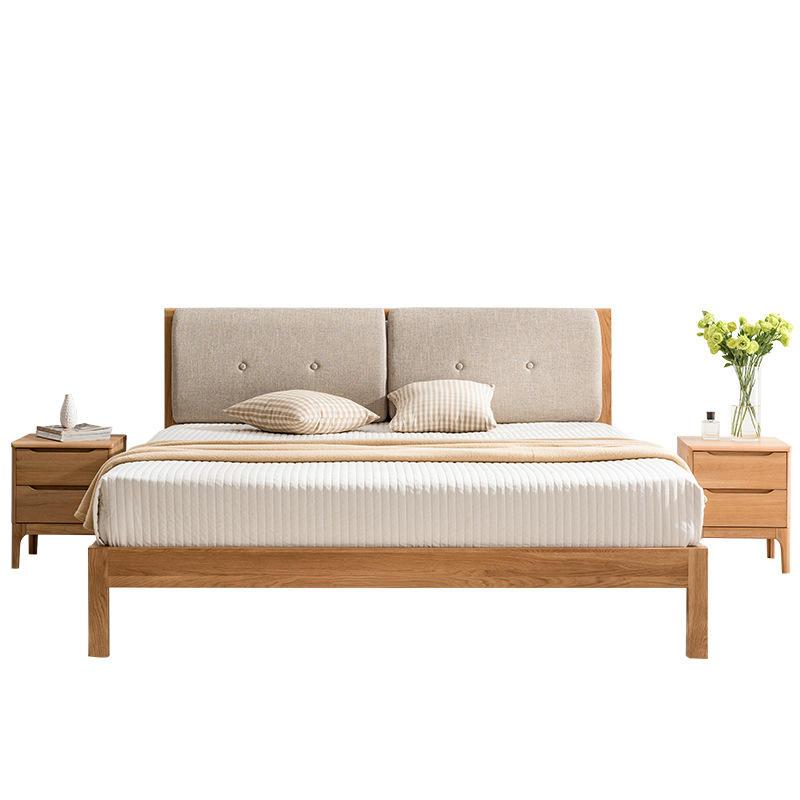 Wholesale Simple Modern Bedroom Furniture Set King Size Solid Wood Bed White Oak Modern 1.5M Bed