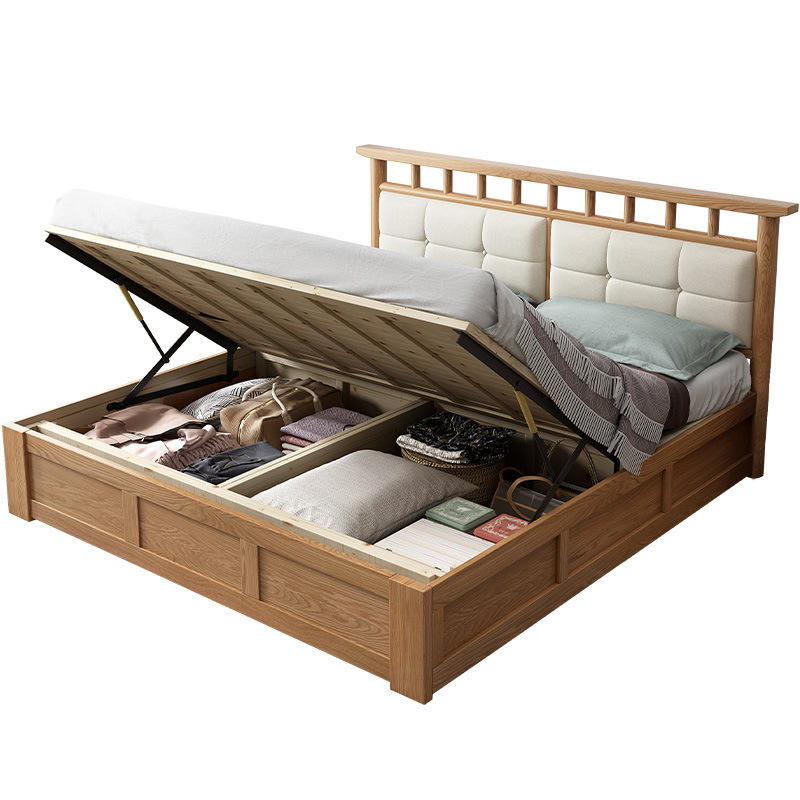 Boomdeer Latest Wooden Bed Designs Solid Wood Simple Double Beds With Box Storage