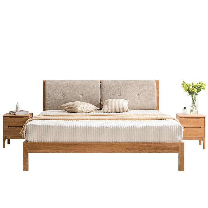 Customizable Modern style 100% Solid wood bed bedroom furniture home furniture beds with light grey backrest and beige backrest