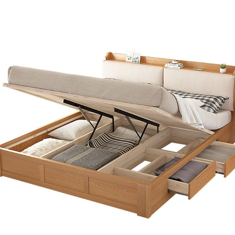 Morden OEM accepted space saving multifunctional solid wooden box bed with bookcase headboard for bedroom furniture set