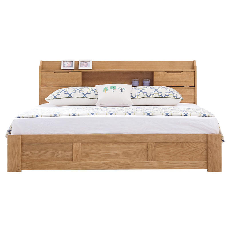Morden popular custom supported space saving storage solid wooden box bed with bookcase headboard for bedroom furniture set