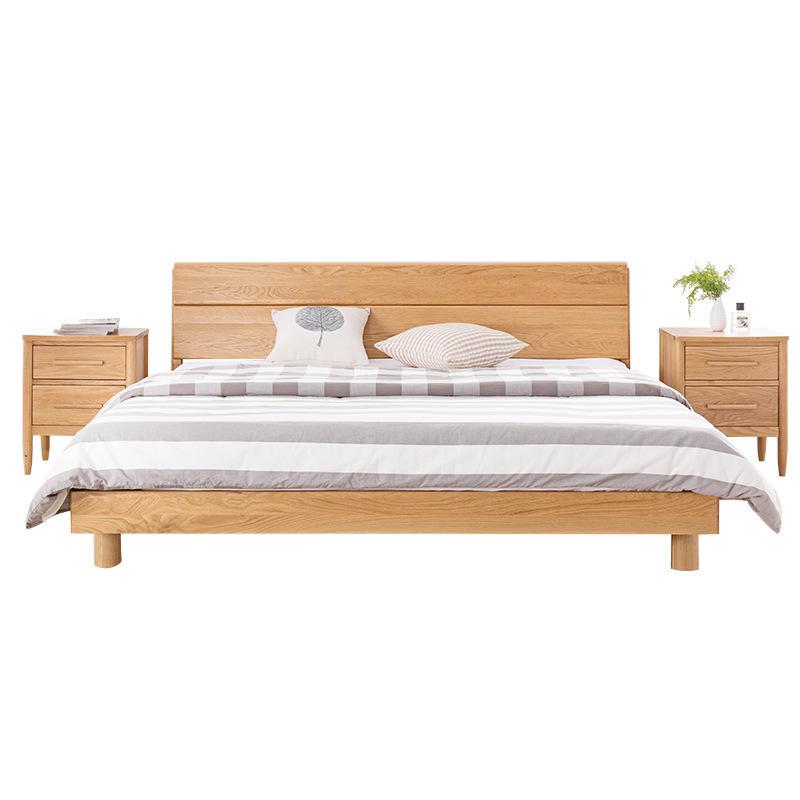 Morden simple design custom hot sale natural solid wooden bed single double bed furniture for bedroom