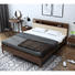 Best Seller fabric bed head Bedroom Furniture economy household brass foot wood wax oil soft bed king size solid wood bed