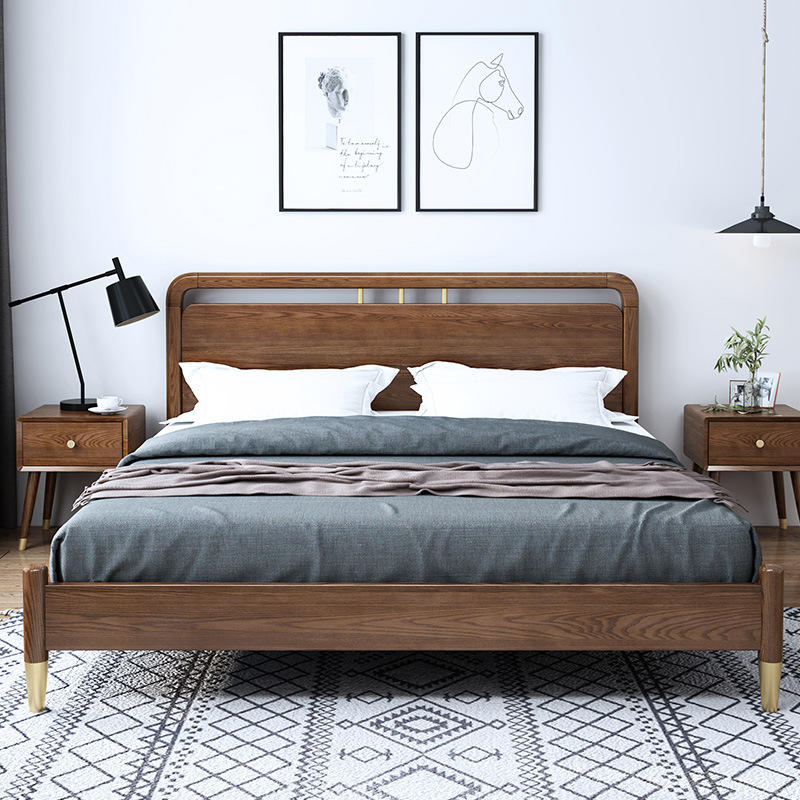 Boomdeer personality popular special offer latest Customizable design useful modern storage simple 1.5m solid wood bed furniture