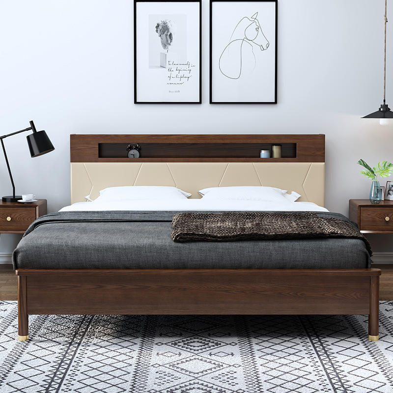 Boomdeer lighted headboard special offer latest Customizable design useful modern double simple 1.5m solid wood bed furniture