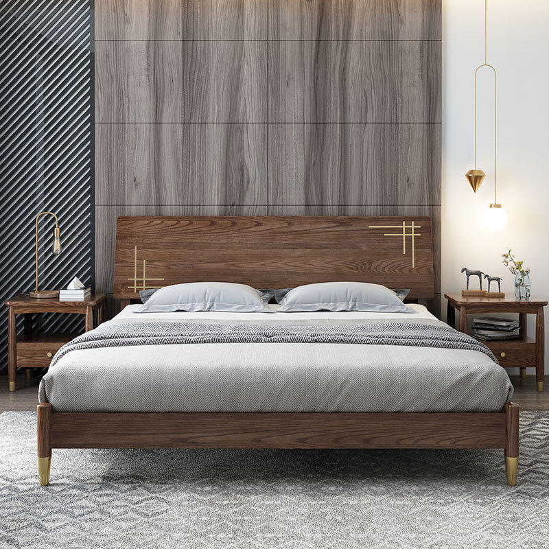 Boomdeer high quality ins special offer latest Customizable design durable double simple 1.8m solid wood bed furniture/bed frame