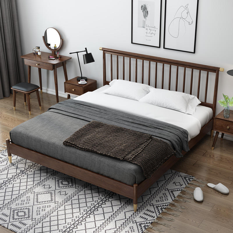 Boomdeer net red special offer latest Customizable design modern single double simple 1.2m solid wood bed , bed frame headboard