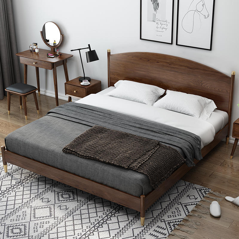 Boomdeer special offer latest Customizable design high quality single or double simple 1.8 m solid wood bed furniture bed frame