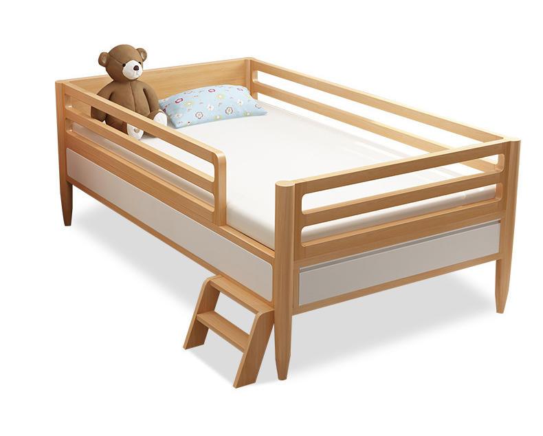 Morden custom 180cm*100cm natural solid wooden children bed with guardrail for bedroom furniture