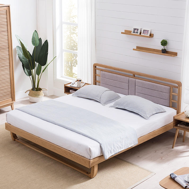Boomdeer net red ins special offer latest Customizable design modern double natural 1.5m solid wood bed furniture bed frame nice