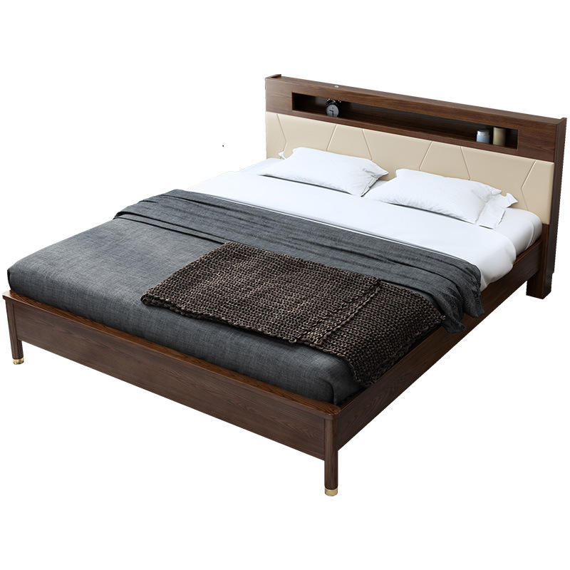 Slat Frame King Size Solid Double Modern Rubber Wood Bed