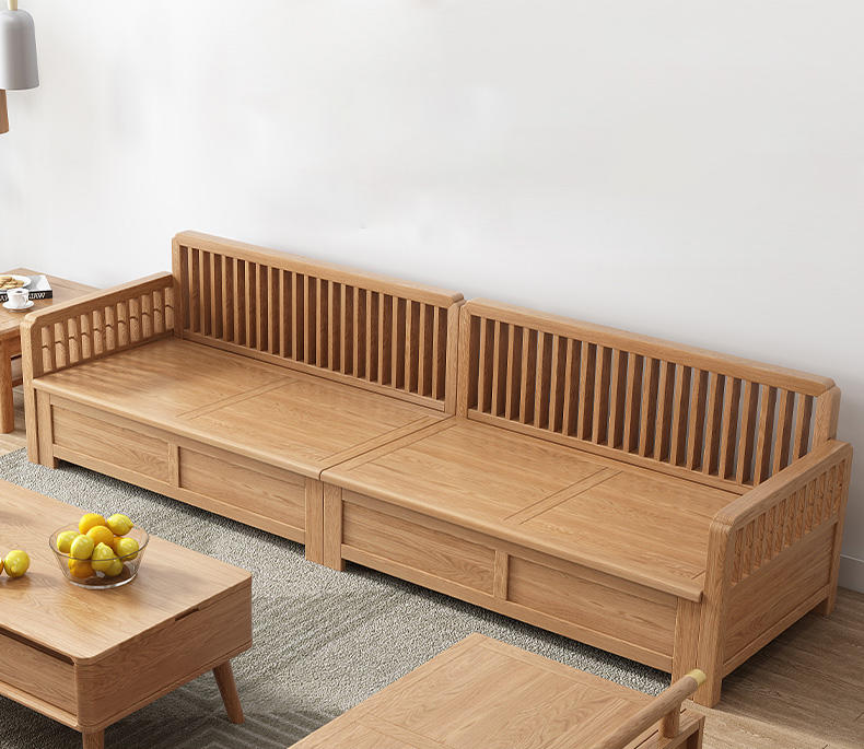 New Model Wooden Sets Bed Wood Luxury Furniture Two Seater Custom Color Size Storage wood Sofa