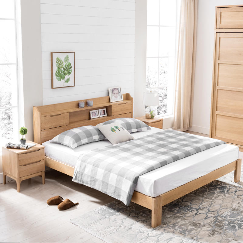 Modern Solid Oak WoodBedroom Furniture Sleeping Wall Bed foam mattress Set