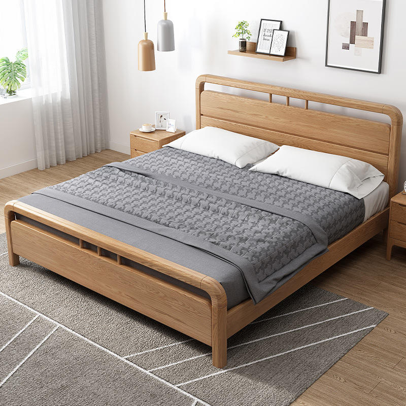 Hot Sale Luxury Modern Set Chinese Latest Frame Simple Design King Size Furniture Wooden Bed