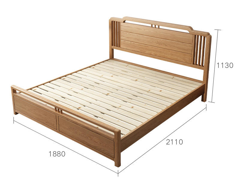 Luxury bedroom furniture king size beds material wooden frame French Oak solid Wooden bed