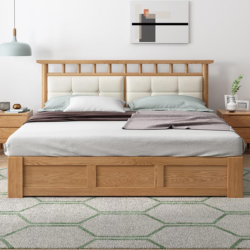 Boomdeer bedroom furniture Modern North European style solid wood bed with storage