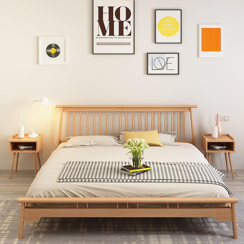 BoomdeerLatest Design Wooden King Size Double Bed Double Bed Frame Fabric Wooden Bed