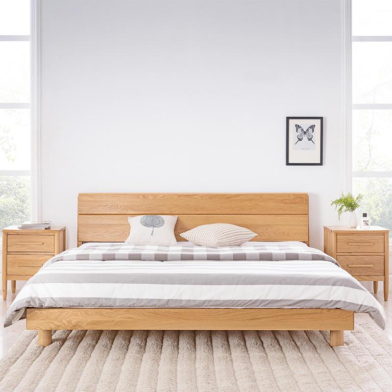 Latest Bedroom Furniture Upholstered Bed Oka Wood Color Wooden Bed Frame