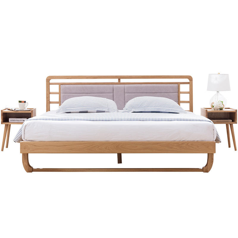 Boomdeer Modern style 100% Solid wood bed bedroom furniture home furniture latest double king queen bed frame fabric wood bed