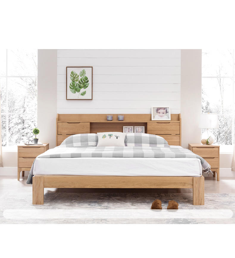 Nordic Concise Style Living Room And Hotel Wooden Platform Wood Double Bed For Home With Drawers
