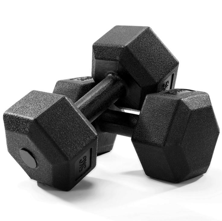 Manufacturers wholesale men and women dumbbell rubber dumbbell hexagonal rubber indoor fitness equipment