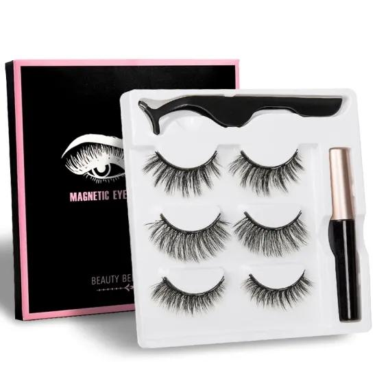 Hot Sale Magnetic Eyelash With Liquid Magnetic Eyeliner False Eyelash And Eyelash Tweezers