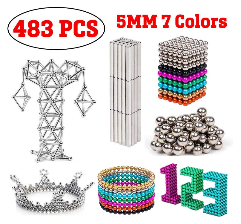 Hot sale magnetic toys 3mm 5mm 216 pcs strong colour magnetic rods magnetic balls