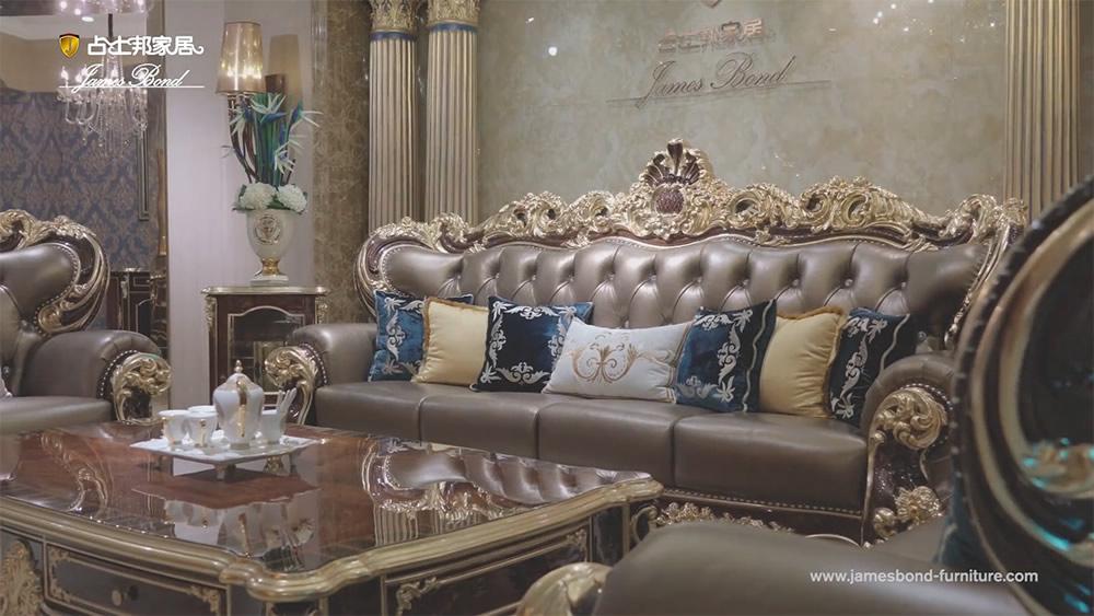Perabot sofa klasik James Bond 14k emas lan kayu kayu padu coklat A2820